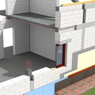 Blocuri BCA MACON 2,5 cu latimea de 40 de cm in sistem monostrat pentru inchiderea la exterior a unei cladiri cu pereti din zidarie confinata. - Sistem de zidarie confinata din BCA Macon pentru constructii rezidentiale, publice si industriale