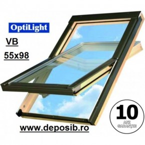 Fereastra mansarda + rama Optilight VB 55x98 cu clapeta de ventilatie - Ferestre de mansarda OptiLight