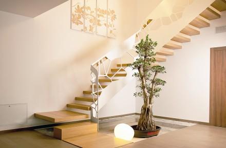 scara cu trepte incastrate de lemn si balustrada traforata cu model celule - Scari metalice cu trepte din sticla, lemn sau inox