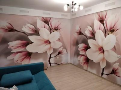 Camera cu fototapet - model cu magnolii - Lucrari realizate de PRINTDREAM REAL