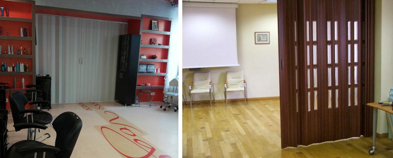 Usi pliante din PVC - Utilizare intr-un salon cosmetic si intr-un birou - Usile pliante din