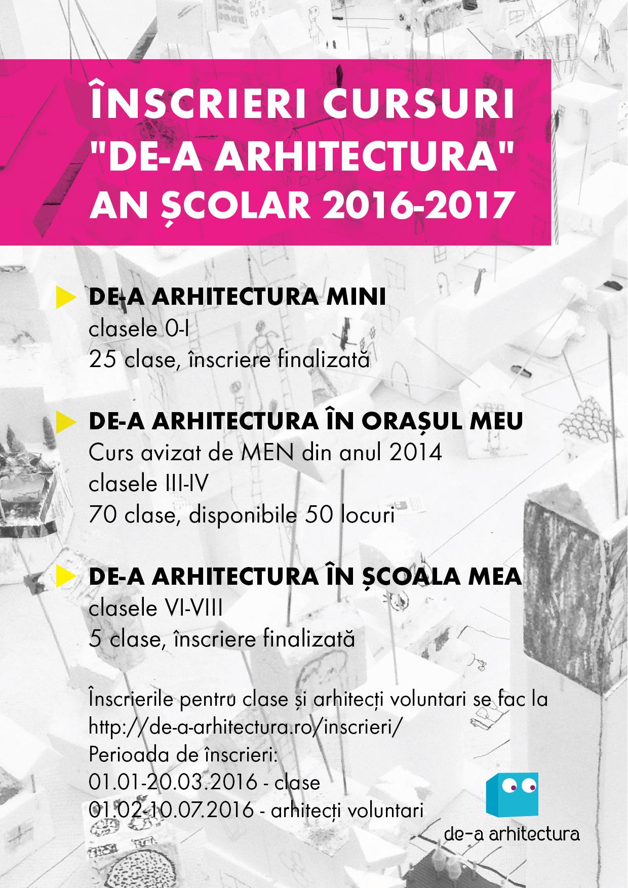 Cursurile optionale De-a Arhitectura vor putea numara peste 10 000 de copii in scoli - Cursurile