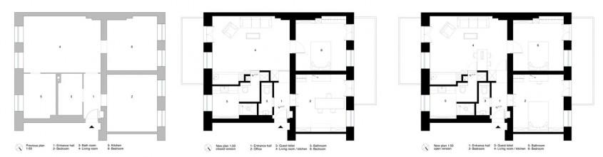 Planuri - Apartament transformat de mobilierul mascat in pereti