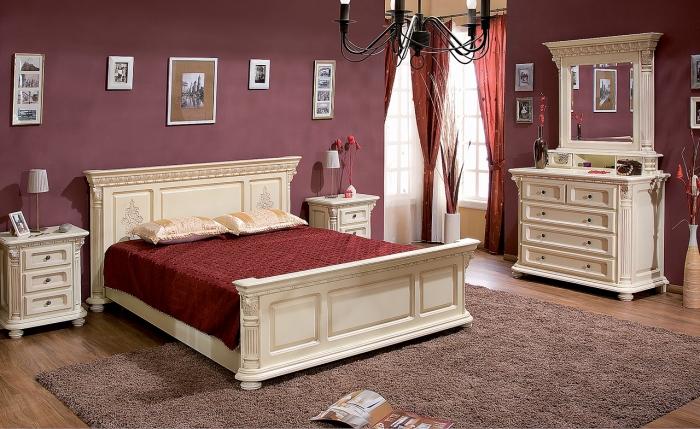 Dormitor Venetia Lux Alb-Auriu - Mobila de dormitor din lemn masiv: standard sau la comanda?