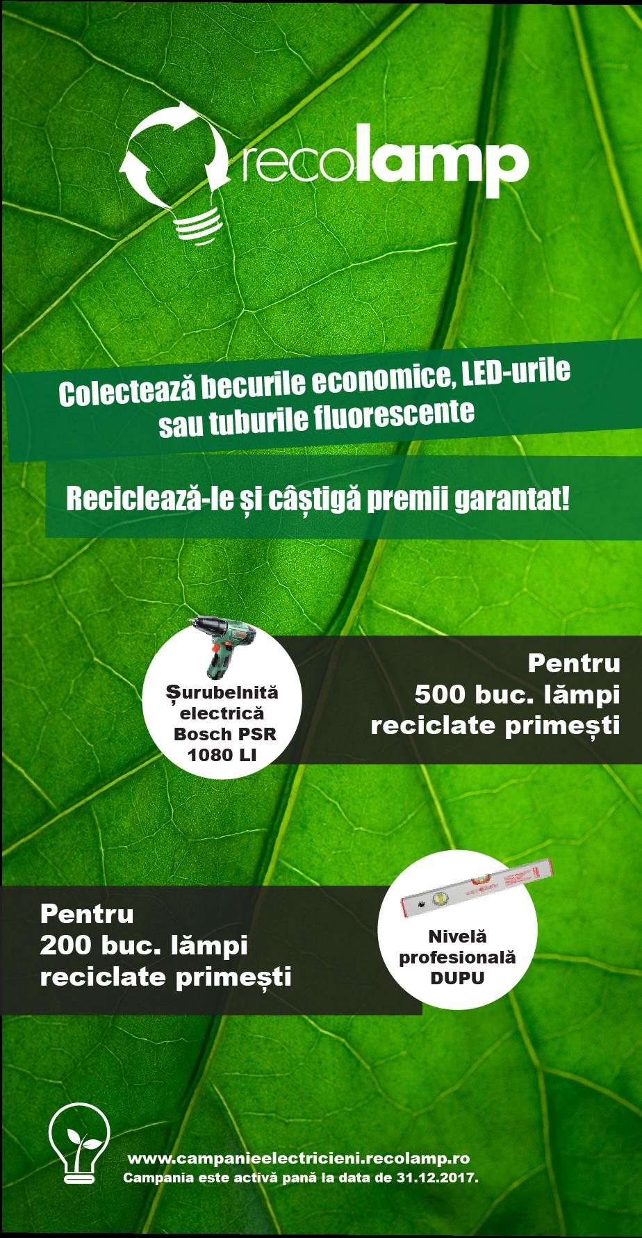 Recolamp oferă premii garantat celor care colectează becuri economice LED-uri și tuburi fluorescente! - Recolamp oferă