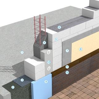 Detaliu de soclu - Sistem de zidarie confinata din BCA Macon pentru constructii rezidentiale, publice si industriale