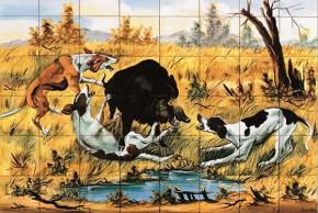 Mistret incercuit de caini de vanatoare - multicolor - Faianta pentru restaurante