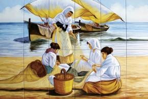 Sotii de pescari reparand un navod - Faianta pentru restaurante