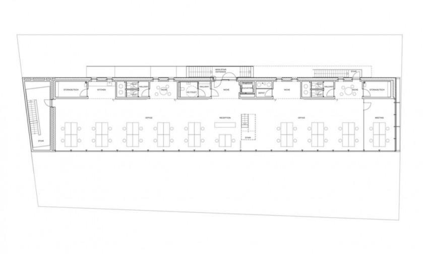 Cladirea Sonnesgade - planuri - Beton spart cu bună știință, pentru a lăsa să intre lumina
