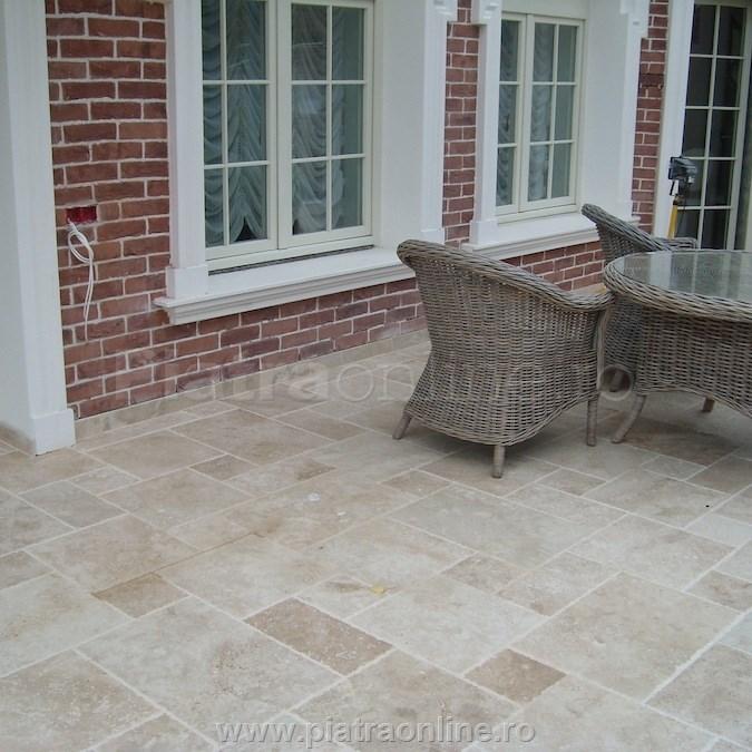 travertin clasic french pattern 3 cm pavaj exterior - Amenajarea terasei: piatra naturala pentru pardoseala