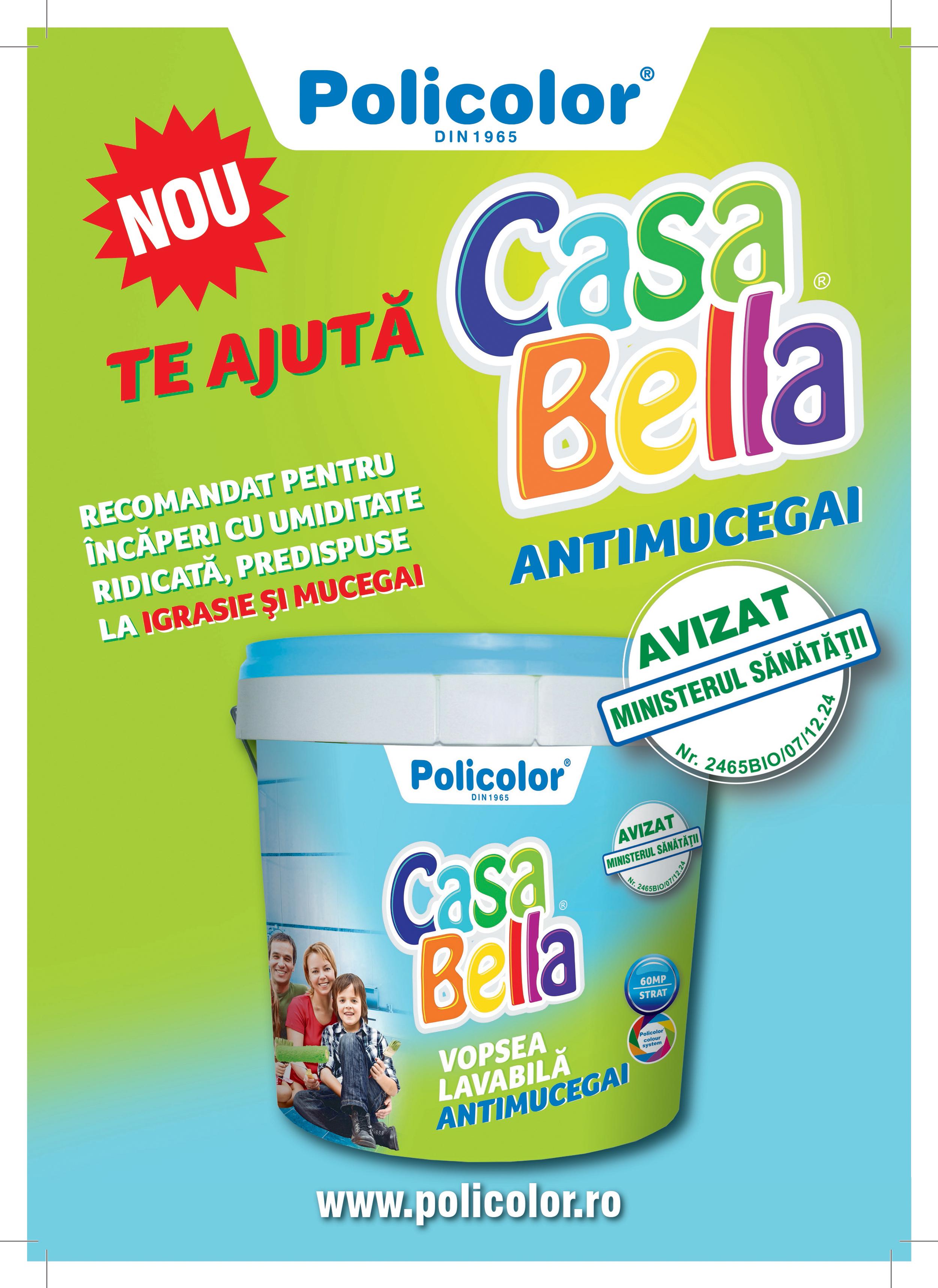 Policolor lanseaza CasaBella antimucegai cea mai noua vopsea lavabila de interior pentru spatii predispuse la igrasie