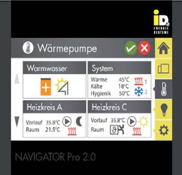 Pompa de caldura IDM NAVIGATOR 2 0 control temperaturi display IDM - Automatizare IDM - NAVIGATOR®