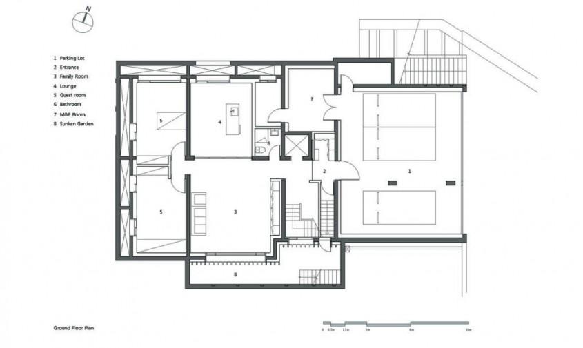 Deep House - planuri - Deep House, locuinta adaptata terenului