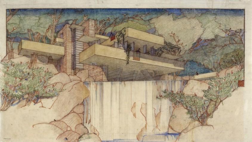 Fallingwater Edgar J Kaufmann House Mill Run PA 1934-37 Arhivele Frank Lloyd Wright Foundation (Muzeul de