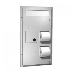 Dispenser de hartie igienica cu cos de gunoi si protectie capac WC pentru montaj in cabine - 0481 - Accesorii din inox pentru spatii sanitare publice