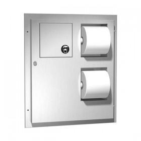 Dispenser de hartie igienica cu cos de gunoi pentru montaj in cabine - 04813 - Accesorii din inox pentru spatii sanitare publice