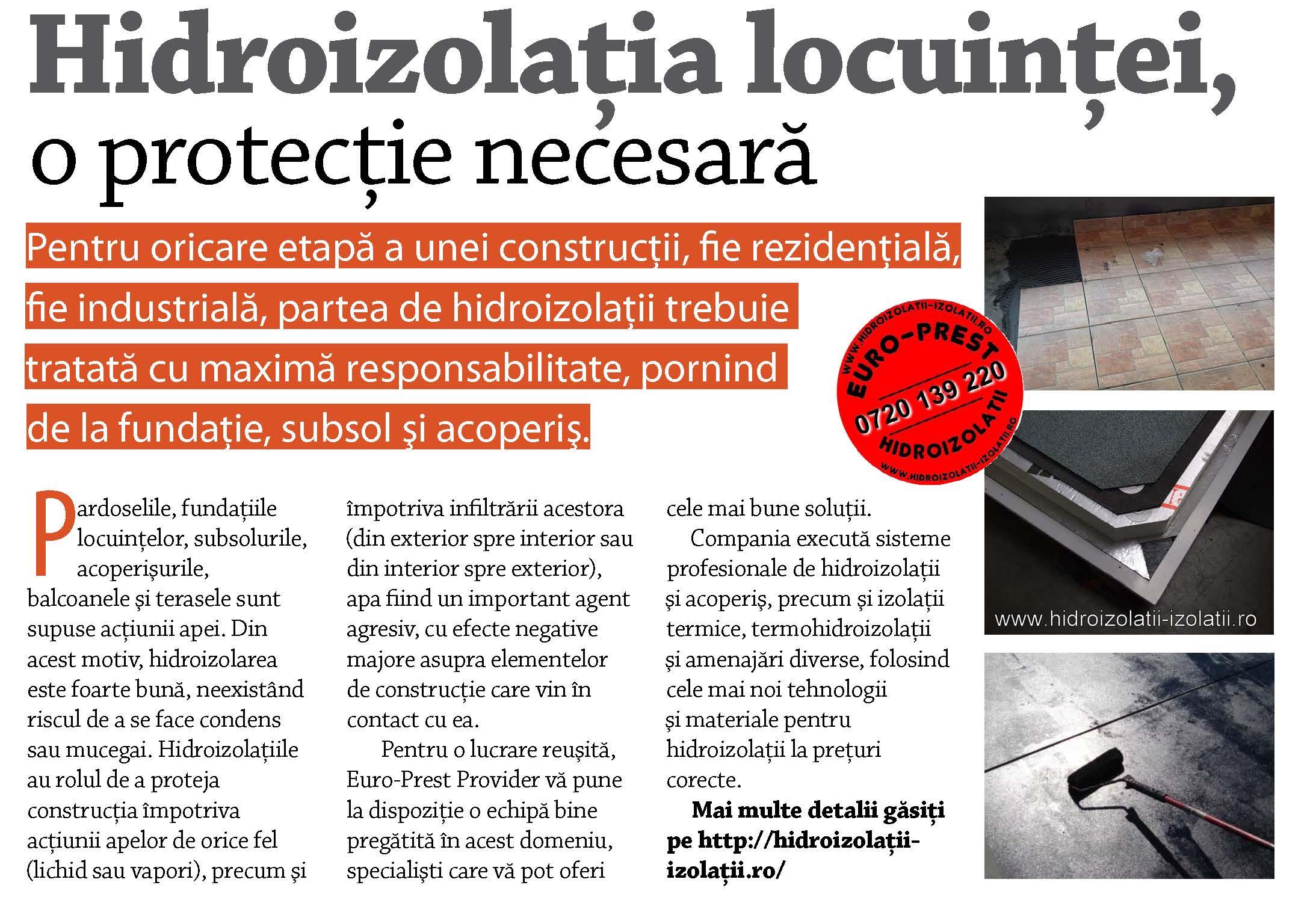 Hidroizolatia locuintei, o protectie necesara - Hidroizolatia locuintei, o protectie necesara