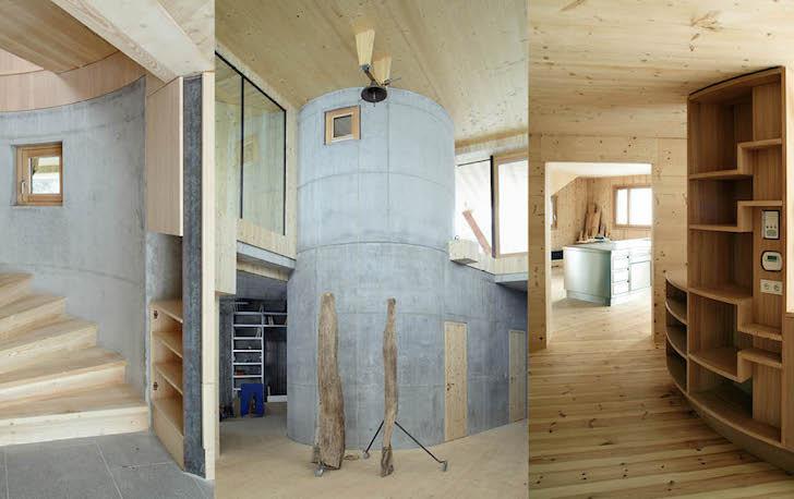 O casa pe structura din lemn a carei volumetrie imita relieful muntos din imprejurimi - O