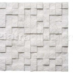 Mozaic Marmura Thassos 3D Scapitata 2.8 x 2.8cm - Mozaic piatra naturala