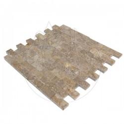 Mozaic Travertin Noce Scapitat 2.3 x 4.8 cm - Lichidare Stoc - Mozaic piatra naturala