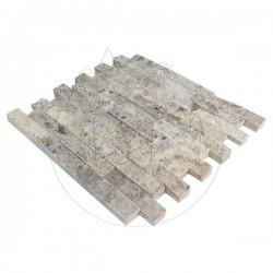 Mozaic Travertin Silver Scapitat 2.5 x 10 cm - Mozaic piatra naturala