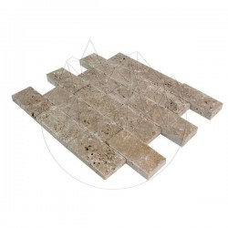 Mozaic Travertin Noce Scapitat 4.8 x 10cm - Lichidare Stoc - Mozaic piatra naturala