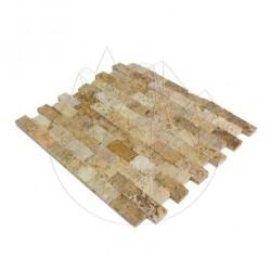 Mozaic Travertin Yellow Scapitat 2.5 x 5 cm - Mozaic piatra naturala
