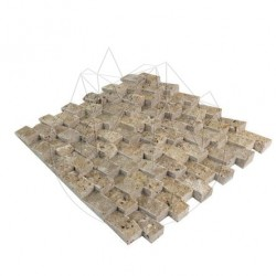 Mozaic Travertin Noce Siding Scapitat 2.3 x 4.8 cm - Lichidare Stoc - Mozaic piatra naturala