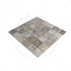 Mozaic Travertin Silver Antichizat 4.8 x 4.8 cm - Mozaic piatra naturala