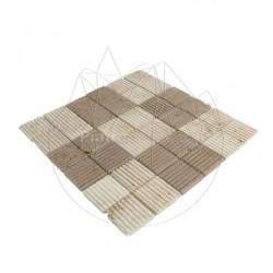 Mozaic Travertin Classic-Noce Rizat 4.7 x 4.7 cm - Mozaic piatra naturala