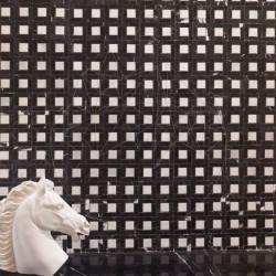 Mozaic Marmura Nero Marquina / Alba Polisat (Patrat mare) - Lichidare Stoc - Mozaic piatra naturala