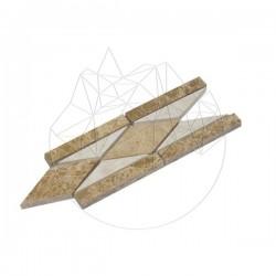 Bordura B16 Marmura Light Beige si Light Emperador 7 x 15cm - Lichidare Stoc - Mozaic piatra naturala