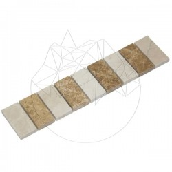 Bordura B54 Marmura Light Beige si Light Emperador - Lichidare Stoc - Mozaic piatra naturala