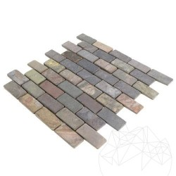 Mozaic Ardezie Multicolora Antichizata 3 x 6 cm  - Mozaic piatra naturala