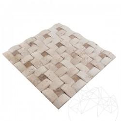 Mozaic Travertin Classic si Latte 3D Konkav Antichizat - Mozaic piatra naturala