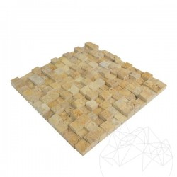 Mozaic Travertin Yellow 3D Scapitat 2.5 x 2.5 cm - Mozaic piatra naturala
