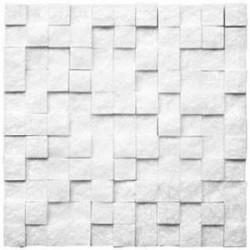 Mozaic Marmura Thassos 3D Scapitata 2.8 x 2.8 cm - Mozaic piatra naturala