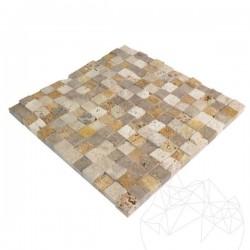 Mozaic Travertin Mix (Noce/Classic/Yellow) Scapitat 2.3 x 2.3 cm - Mozaic piatra naturala