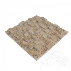 Mozaic Travertin Noce 3D Scapitat 2.5 x 2.5 cm - Mozaic piatra naturala
