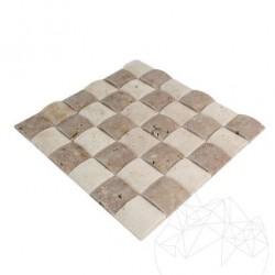 Mozaic Travertin Classic si Noce 3D Pillow Antichizat 5 x 5 cm - Mozaic piatra naturala