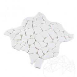 Mozaic Marmura Thasos Crazy Paving Antichizat 1 cm - Mozaic piatra naturala