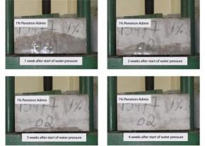 Penetron Admix dozaj 1% - Test sub presiune - Hidroizolatii si impermeabilizare pentru structuri din beton