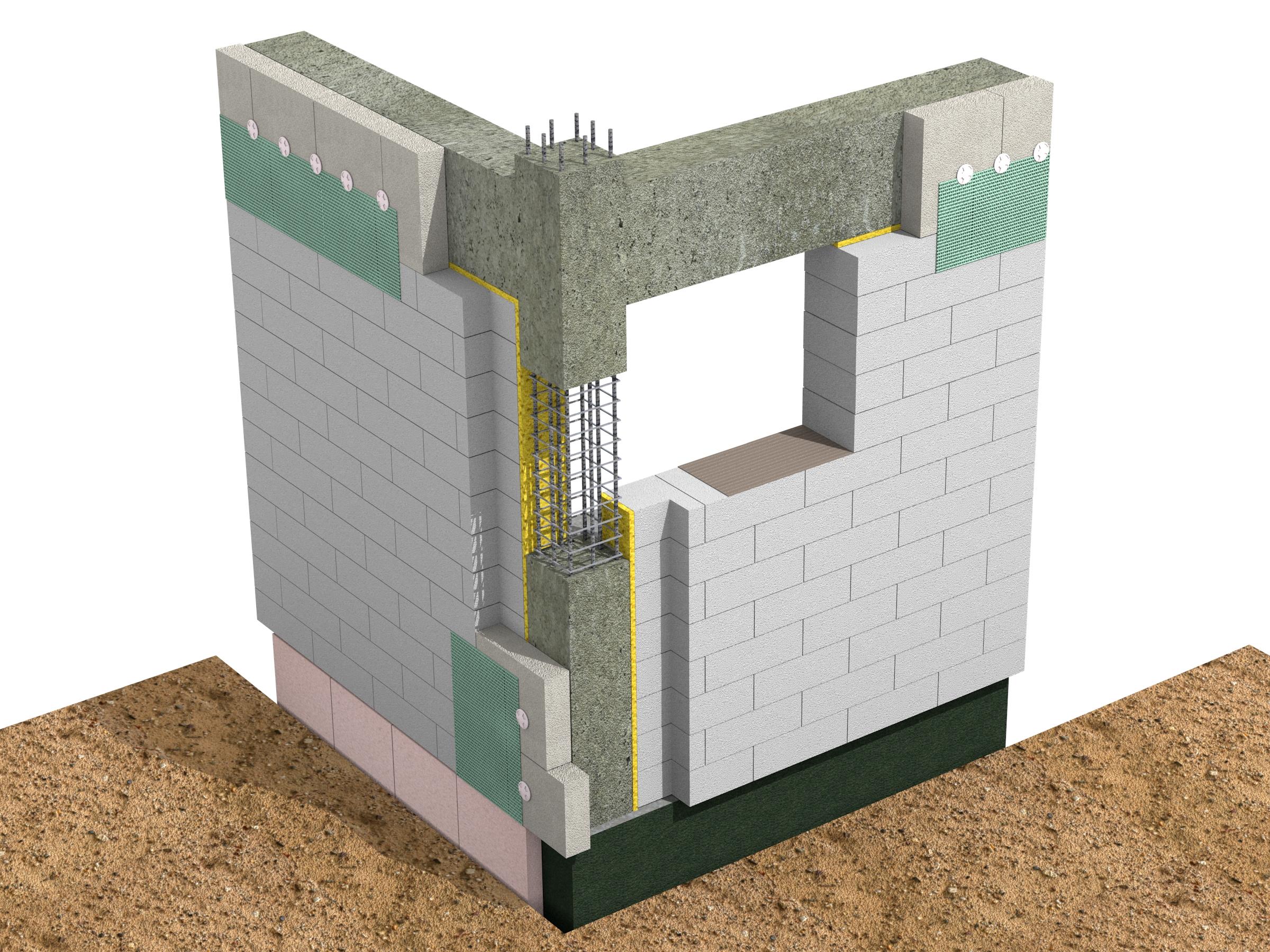 Racord de colt structura in cadre - atenuare punti termice in cazul zidariei monostrat - Racordul cu elementele structurale - detalii de camp / Compensarea puntilor termice - detalii de colt