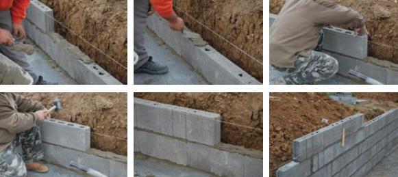 Elemente de zidarie din beton pentru pereti de compartimentare - punerea in opera - Elemente de