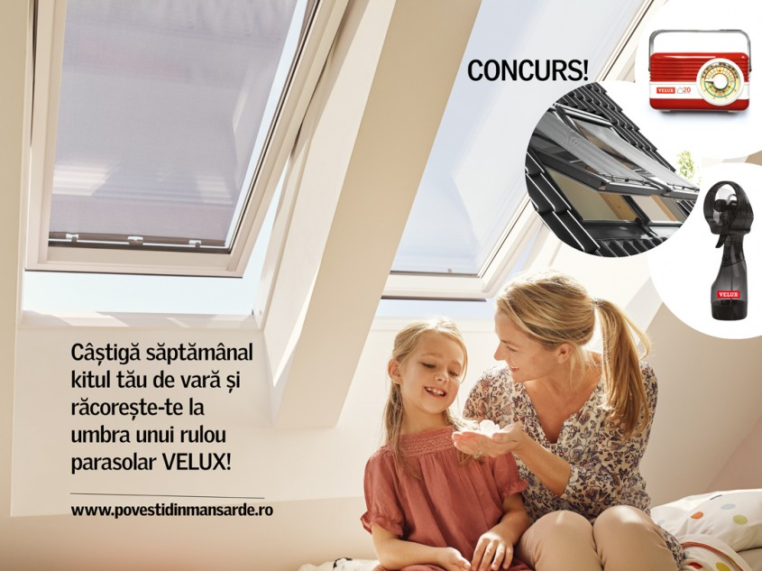 Răcorește-te la umbra unui rulou parasolar VELUX care scade temperatura cu până la 5 grade C