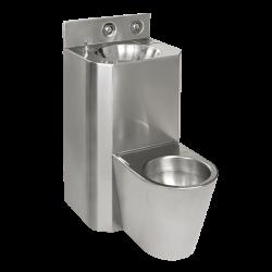Combinatie de lavoar si vas WC antivandal din otel inox, vas WC suspendat - SLWN 38Z - Unitati combinate din otel inox