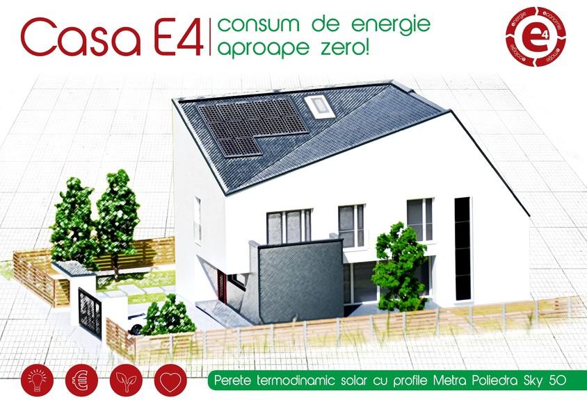 Casa E4 - Perete Trombe - Perete termodinamic solar realizat cu profile Metra Poliedra Sky 50