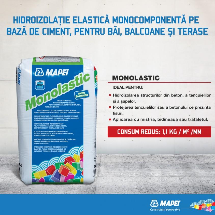 Monolastic - hidroizolatie elastica monocomponenta pe baza de ciment pentru bai balcoane si terase - Monolastic
