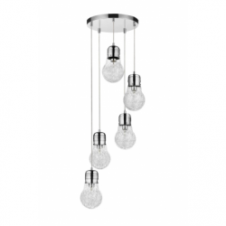 Bulb Lustra 5x60W, E27, sticla-metal, chrom - Iluminat corpuri de iluminat