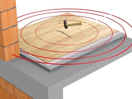 Detaliu de pardoseala fara strat izolator - Propagare zgomot in pardoseala